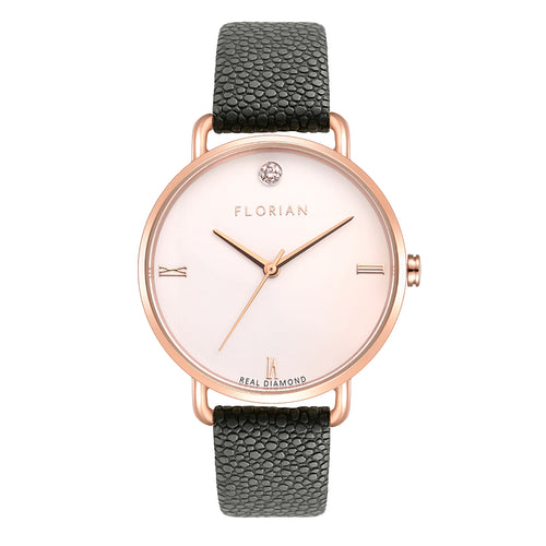 Pure Diamond Rosy Gold Charcoal Grey Strap Watch | 36mm