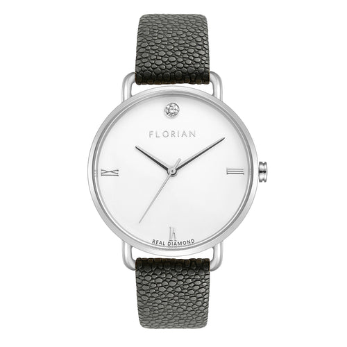 Pure Diamond Silver Chic Charcoal Grey Strap Watch | 36mm