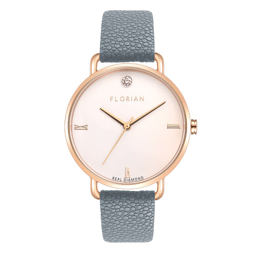 Pure Diamond Rosy Gold Koala Grey Strap Watch | 36mm