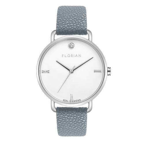 Pure Diamond Silver Chic Koala Grey Strap Watch | 36mm