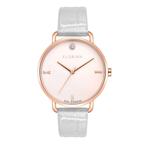 Pure Diamond Rosy Gold Pearl White Strap Watch | 36mm