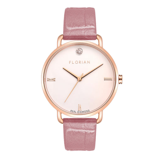 Pure Diamond Rosy Gold Punchy Pink Strap Watch | 36mm