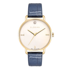 Pure Diamond Champagne Gold Berry Blue Strap Watch | 36mm