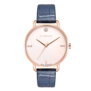 Pure Diamond Rosy Gold Berry Blue Strap Watch | 36mm