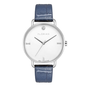 Pure Diamond Silver Chic Berry Blue Strap Watch | 36mm