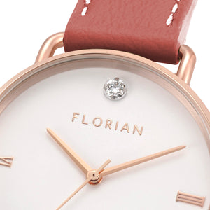 Pure Diamond Rosy Gold Peachy Coral Strap Watch | 36mm