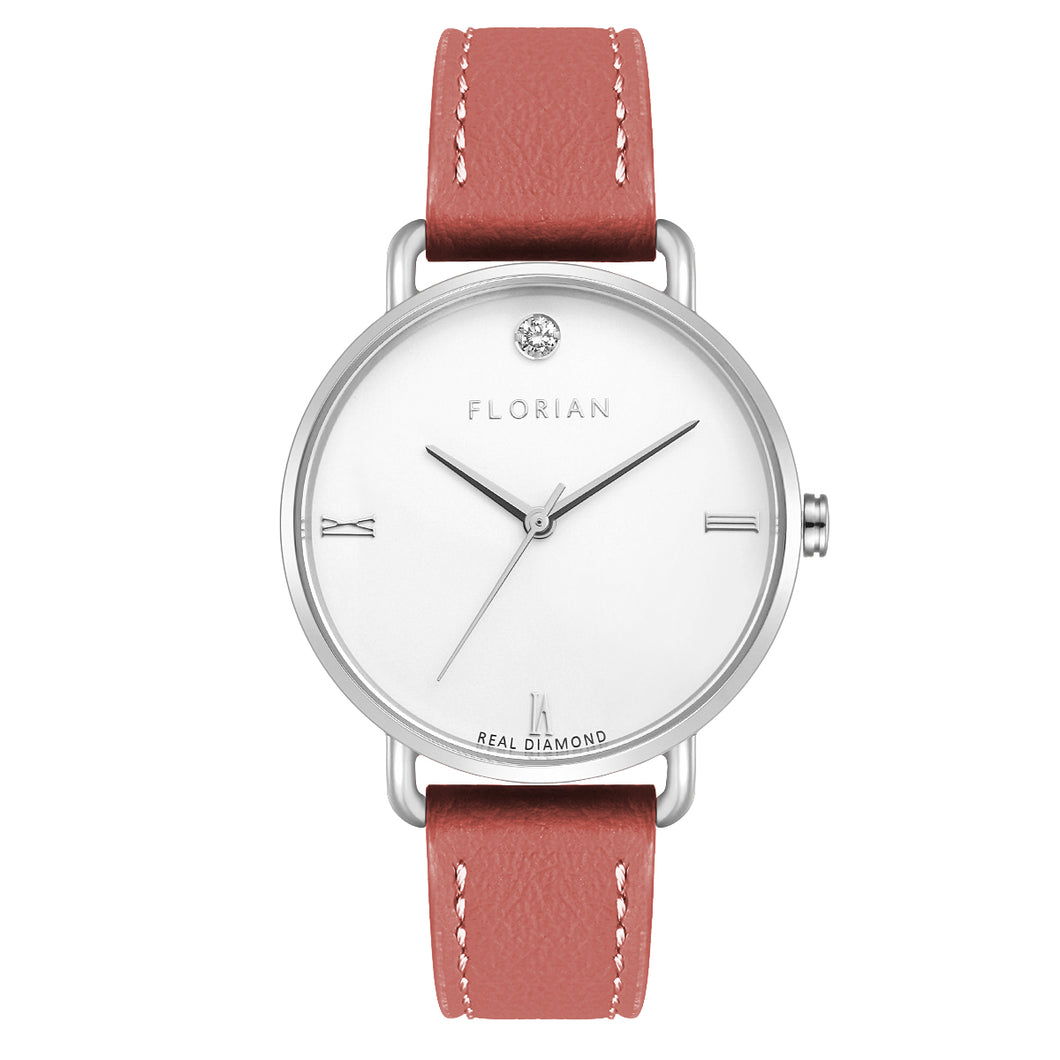 Pure Diamond Silver Chic Peachy Coral Strap Watch | 36mm