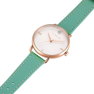 Pure Diamond Rosy Gold Palm Green Strap Watch | 36mm