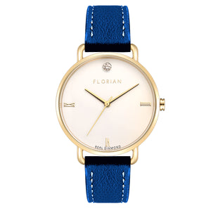 Pure Diamond Champagne Gold Frenchy Blue Strap Watch | 36mm