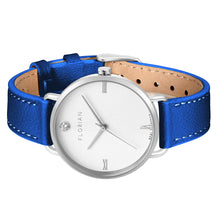 Pure Diamond Silver Chic Frenchy Blue Strap Watch | 36mm