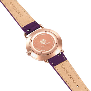 Pure Diamond Rosy Gold Orchid Purple Strap Watch | 36mm