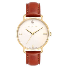 Classic Diamond Champagne Gold Timber Tan Strap Watch | 36mm