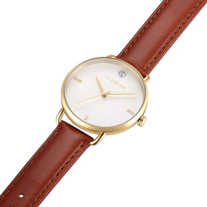 Classic Diamond Timber Tan and Champagne Gold Watch | 36mm