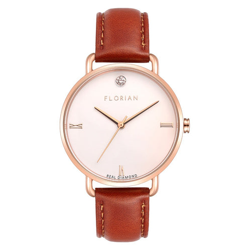 Classic Diamond Timber Tan and Rose Gold Watch | 36mm