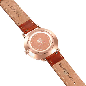 Classic Diamond Rosy Gold Timber Tan Strap Watch | 36mm