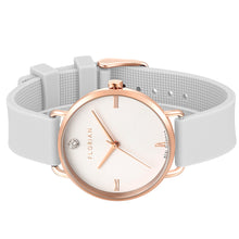Pure Diamond Rosy Gold Pure White Silicon Strap Watch | 36mm