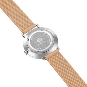 Pure Diamond Silver Chic Sea Coral Silicon Strap Watch | 36mm
