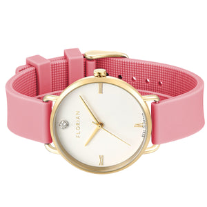 Pure Diamond Champagne Gold Panther Pink Silicon Strap Watch | 36mm