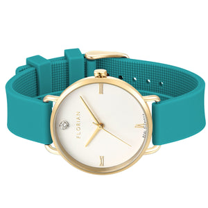 Pure Diamond Aqua Green and Champagne Gold Watch | 36mm