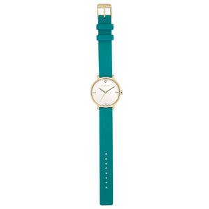Pure Diamond Champagne Gold Aqua Green Silicon Strap Watch | 36mm