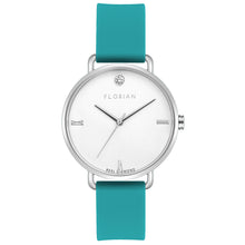 Pure Diamond Silver Chic Aqua Green Silicon Strap Watch | 36mm