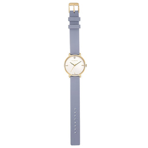 Pure Diamond Champagne Gold Lilac Violet Silicon Strap Watch | 36mm