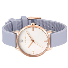 Pure Diamond Rosy Gold Lilac Violet Silicon Strap Watch | 36mm