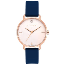 Pure Diamond Rosy Gold Navy Blue Silicon Strap Watch | 36mm