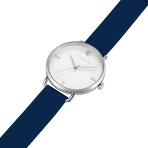 Pure Diamond Silver Chic Navy Blue Silicon Strap Watch | 36mm