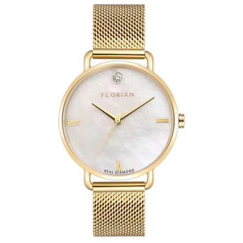 Ocean Diamond MOP Dial Champagne Gold Mesh Watch | 36mm