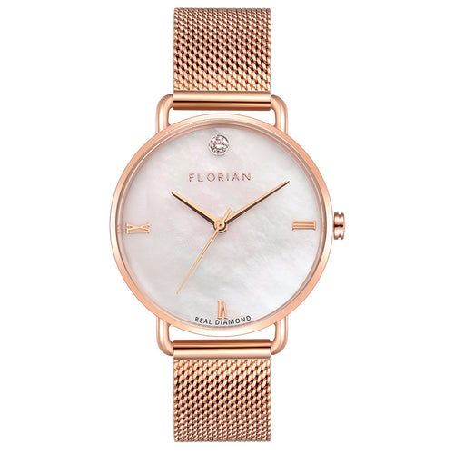 Ocean Diamond MOP Dial Rosy Gold Mesh Watch | 36mm