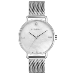 Ocean Diamond MOP Dial Silver Chic Mesh Watch | 36mm
