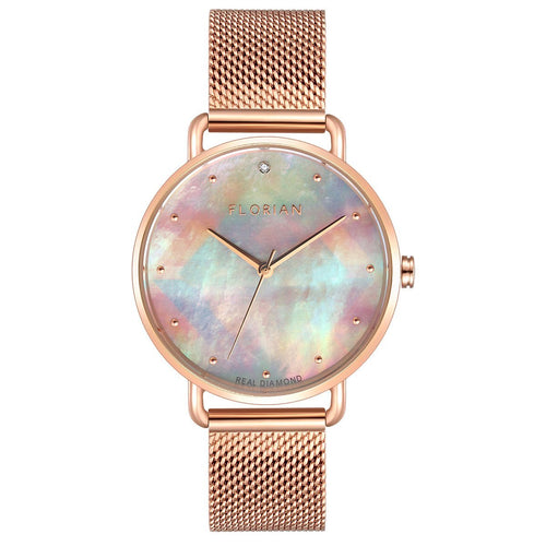 Candy Diamond Colorful MOP Dial Rose Gold Mesh Watch | 36mm