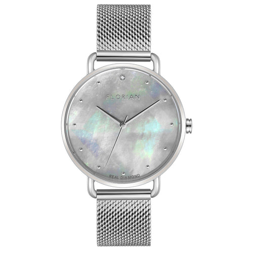 Candy Diamond Colorful MOP Dial Silver Mesh Watch | 36mm