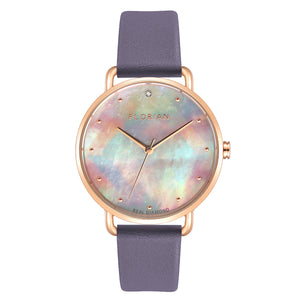 Candy Diamond Colorful MOP Dial Rosy Gold Lilac Violet Strap Watch | 36mm