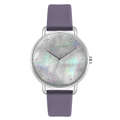 Candy Diamond Colorful MOP Dial Lilac Violet and Silver Watch | 36mm