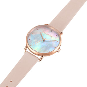 Candy Diamond Colorful MOP Dial Sea Coral and Rose Gold Watch | 36mm