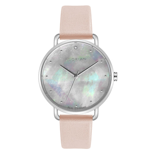 Candy Diamond Colorful MOP Dial Sea Coral and Silver Watch | 36mm