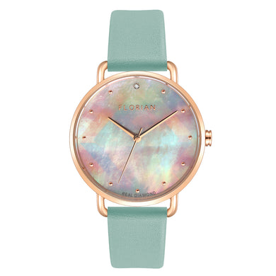 Candy Diamond Colorful MOP Dial Rosy Gold Pistachio Green Strap Watch | 36mm