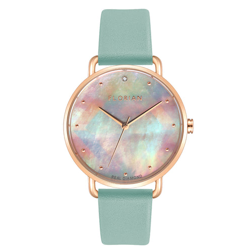 Candy Diamond Colorful MOP Dial Pistachio Green and Rose Gold Watch | 36mm