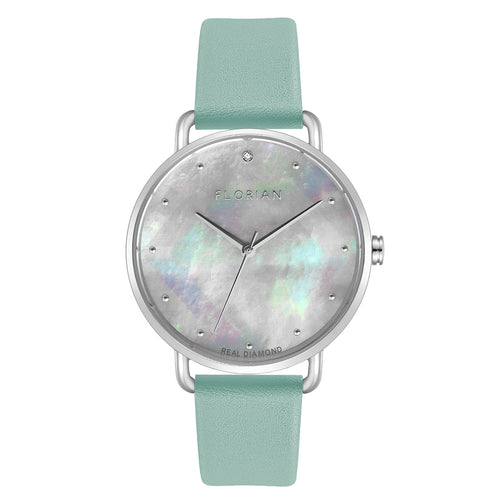 Candy Diamond Colorful MOP Dial Pistachio Green and Silver Watch | 36mm