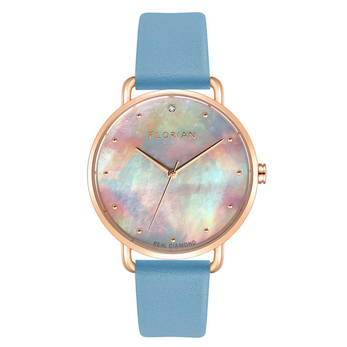 Candy Diamond Colorful MOP Dial Angel Blue and Rose Gold Watch | 36mm