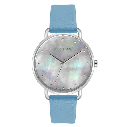 Candy Diamond Colorful MOP Dial Angel Blue and Silver Watch | 36mm