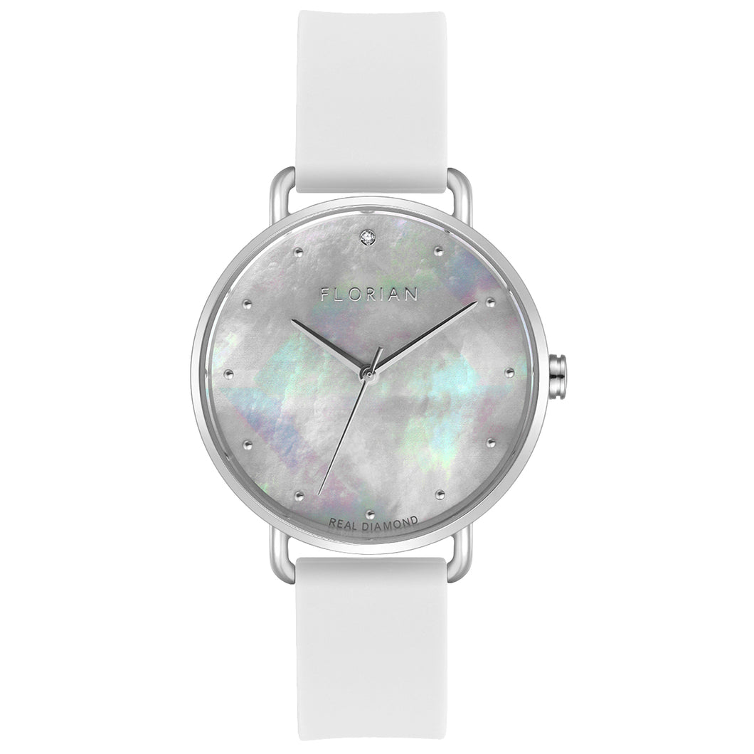 Candy Diamond Colorful MOP Dial Pure White and Silver Watch | 36mm