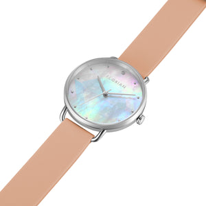 Candy Diamond Colorful MOP Dial Silver Chic Sea Coral Silicon Strap Watch | 36mm
