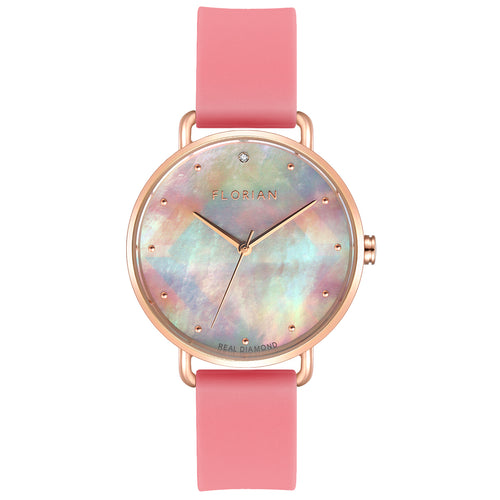 Candy Diamond Colorful MOP Dial Panther Pink and Rose Gold Watch | 36mm