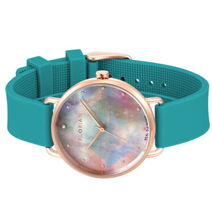 Candy Diamond Colorful MOP Dial Aqua Green and Rose Gold Watch | 36mm