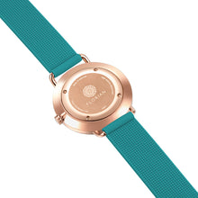Candy Diamond Colorful MOP Dial Rosy Gold Aqua Green Silicon Strap Watch | 36mm