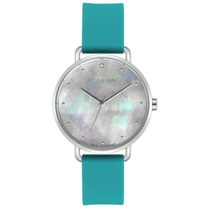 Candy Diamond Colorful MOP Dial Silver Chic Aqua Green Silicon Strap Watch | 36mm