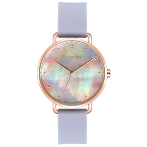 Candy Diamond Colorful MOP Dial Rosy Gold Lilac Violet Silicon Strap Watch | 36mm